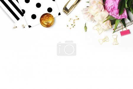 Glamour background. Flat lay. Flower on the table. Polka dots.Table view. Business accessories. Mock-up background. Peonies