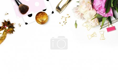 Mockup product view table woman accessories. stationery supplies. glamour style. Gold stapler. polka gold. Header website or Hero website. Flat lay