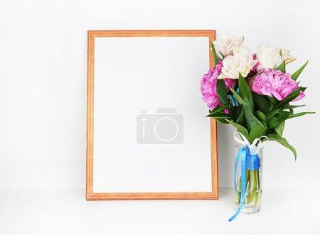 Peonies in vase, frame mockup, white backgroun, wall art