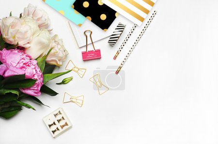 White background mockup, image blog, peonies and stationery items gold