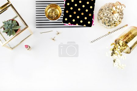office table view and gold accessories, mock up background, header site