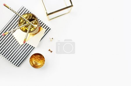 Photo for Feminine desk mockup, table view - Royalty Free Image