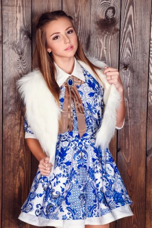fashion interior photo of beautiful brunette
