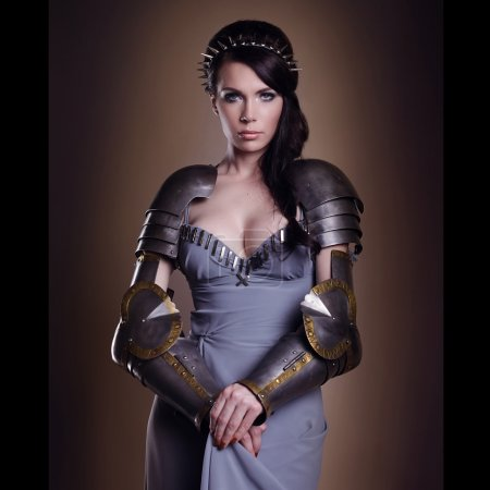 Portrait of a beautiful lady warrior, dark-haired ...