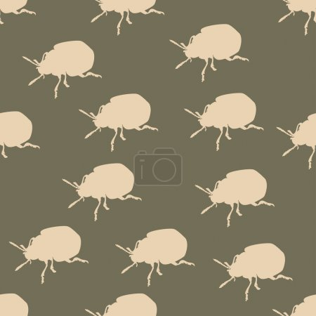 Illustration for Seamless pattern with colorado beetle on brown - Royalty Free Image