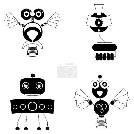 Set verschiedener niedlicher Roboter isoliert