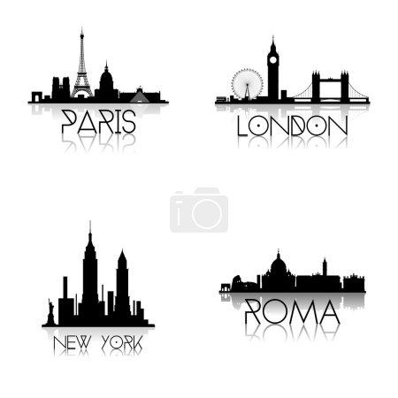 Photo pour Un ensemble de différentes lignes de crête noires de différentes villes sur fond blanc - image libre de droit