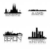 A set of different black skylines of different cities on a white background