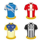 Set of soccer shirts on a white background Vector illustration