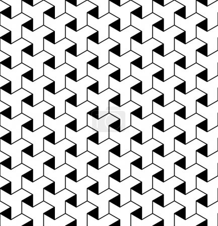 Black and white geometric seamless pattern with line and triangl