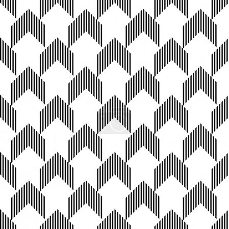 Illustration for Black and white geometric seamless pattern with stripe and arrow abstract background, vector. - Royalty Free Image