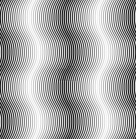 Black and white seamless pattern wave line style, abstract backg