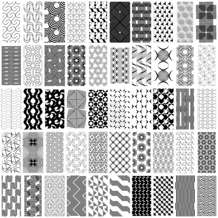 Illustration for 50 black and white geometric seamless pattern set. Abstract background. Vector seamless pattern. - Royalty Free Image