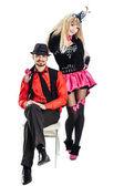 Glamouröse Sexy Moulin Rouge Mädchen heißen Dessous tragen. Beuty Frau im Varieté Stil Hut und Pailletten Mode Kabarett Partei