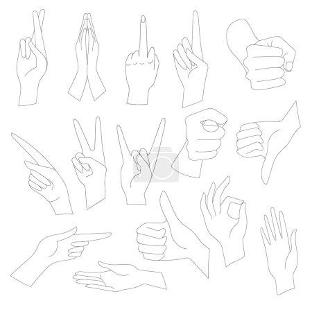 Photo pour Illustrations linéaires Ensemble de gestes universels des mains. Mains dans les différentes interprétations - image libre de droit