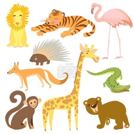 Vector illustration of animal. Zoo cute animals.
