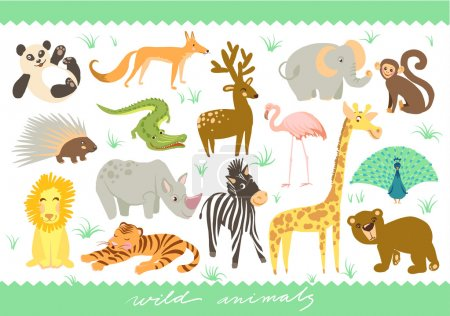Big Set of vector illustration. Zoo cute animals.
