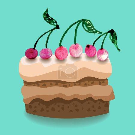 Chocolate cake with cream and cherry