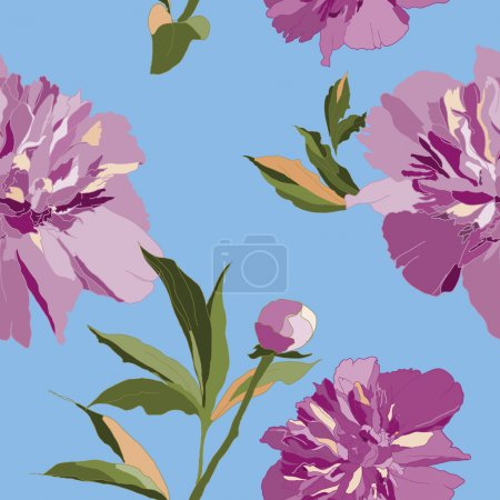 Beautiful seamless floral pattern with Peony