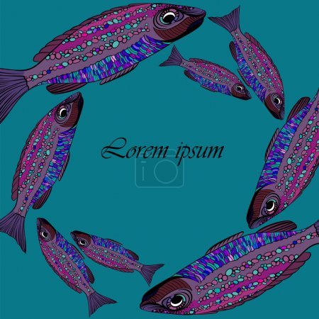 Frame with purple vector fishes on blue background. School of fish. Template for print design. Can be used as design for seafood restaurant.