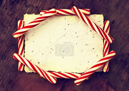 Christmas candy canes with card