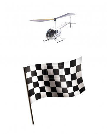 illustration of Racing flag and helicopter isolated on white background