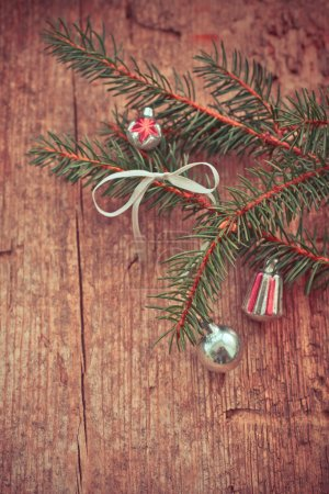 Christmas decorations and fir branches