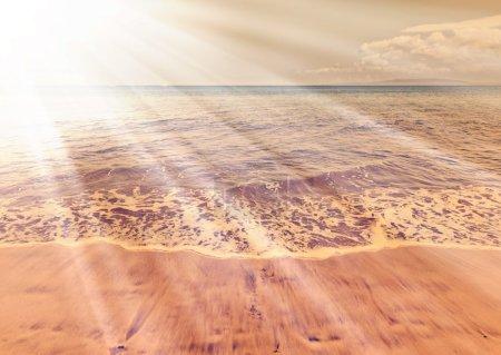 Photo pour Beau paysage océanique avec plage de sable fin, Hawaï - image libre de droit