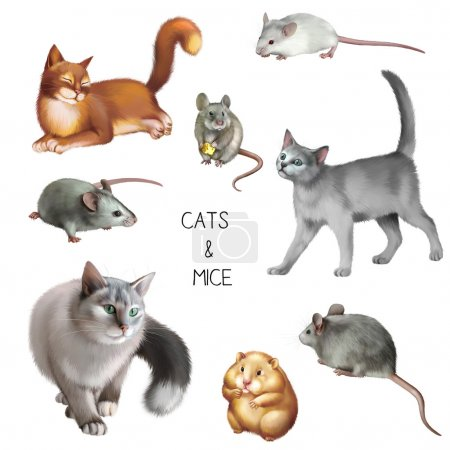 Illustration of cats and mices isolated on white b...