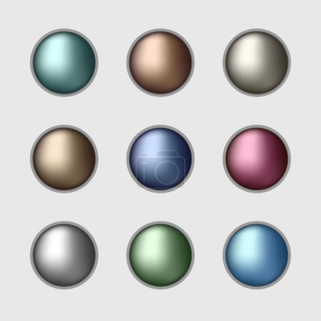 Set of the color metallic buttons