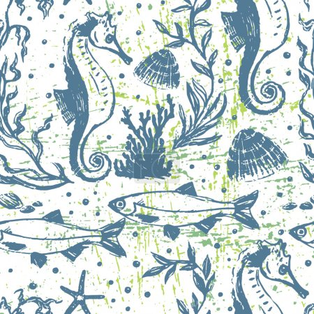 Seamless background with sea life scene