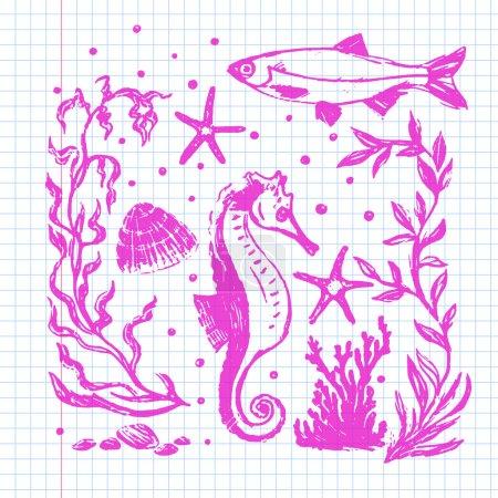 Sea life collection. Original hand drawn illustration