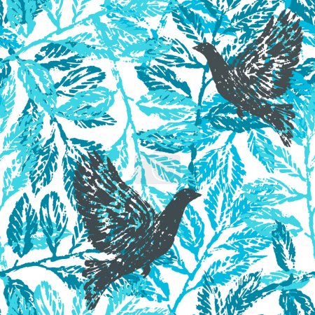 Seamless pattern with laurel branches and pigeons