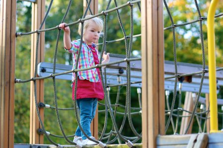 Toddler girl having fun at playground