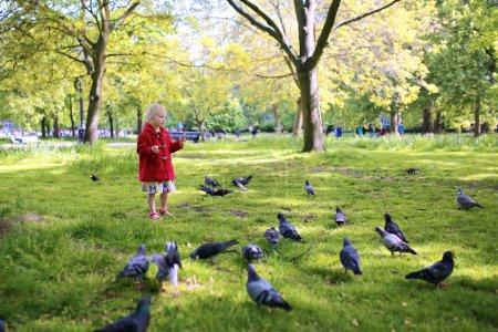 Photo pour Joyeux gamin jouant dans le parc. Petite fille mignonne en manteau de manteau rouge nourrissant les pigeons dans le parc par un été ensoleillé ou un jour de printemps. Enfant profitant de la nature, Hyde Park, Londres, Royaume-Uni - image libre de droit