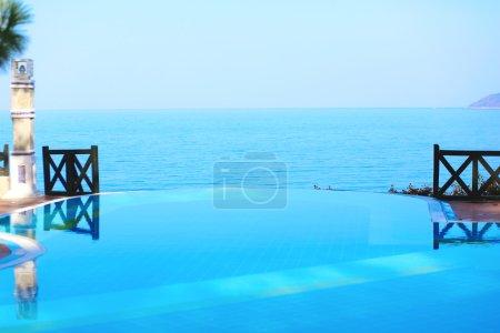 Infinity pool in luxury hotel