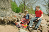 Man and woman in vintage picnic