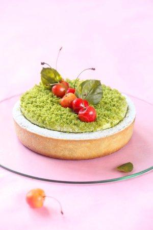Pistachio Tart with Cherries