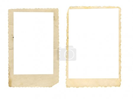 Photo for Two old-fashioned wavely cut paper photo frames isolated on white background - Royalty Free Image