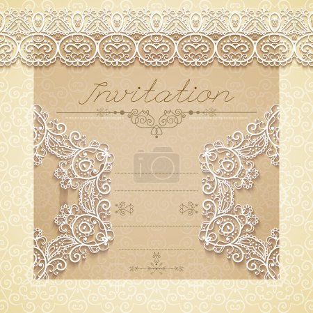 Illustration for Vintage Wedding card or invitation with abstract lace seamless background and borders. Vector - Royalty Free Image