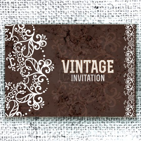 Illustration for Vintage Wedding card or invitation with abstract lace decoration on a realistic burlap texture - Royalty Free Image