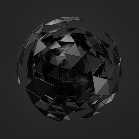 Photo for Abstract 3d rendering of low poly black sphere with chaotic structure. Sci-fi background with wireframe and globe in empty space. Futuristic shape - Royalty Free Image