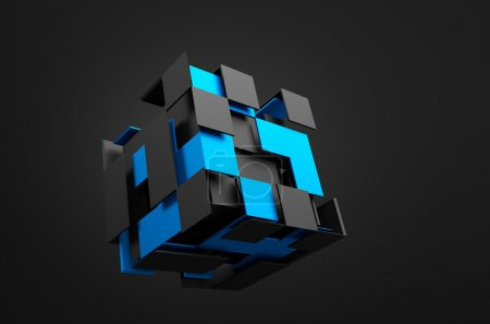Abstract 3d rendering of flying cube. Sci fi shape...
