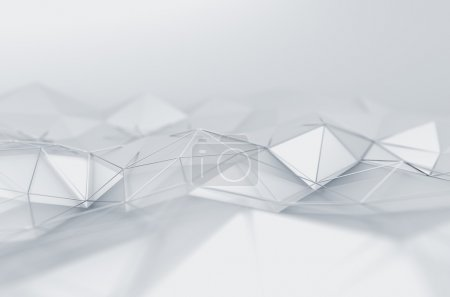 Photo for Abstract 3d rendering of white surface. Background with futuristic low poly shape - Royalty Free Image