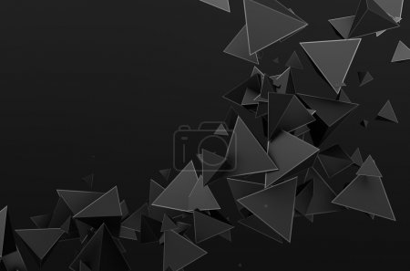 Photo for Abstract 3d rendering of chaotic particles. Futuristic pyramids in empty space. Sci-fi background - Royalty Free Image