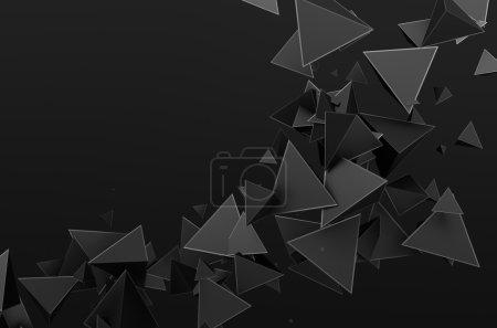 Rendu 3D abstrait des particules volantes .
