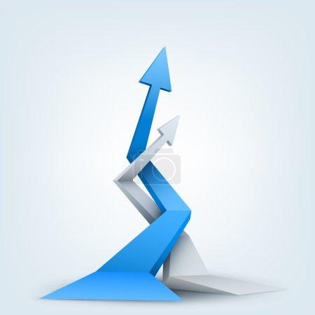 Abstract vector illustration, 3d arrows, logo design