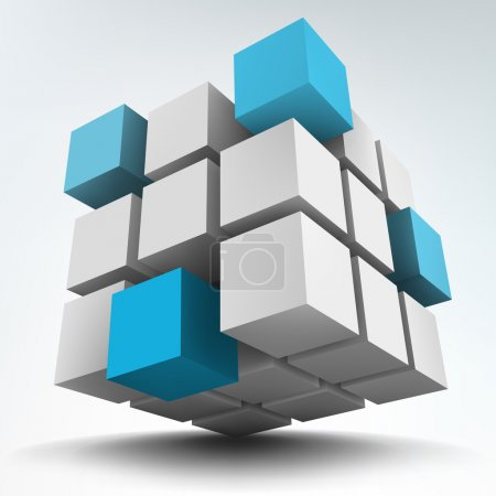 Vector illustration of 3d cubes on white background