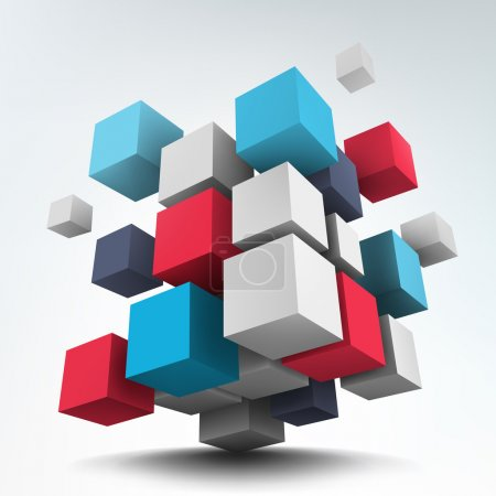 Illustration for Abstract vector Illustration. Composition of 3d cubes. Background design. Logo design - Royalty Free Image
