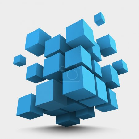 Illustration for Abstract vector Illustration. Composition of blue 3d cubes. Background design for banner, poster, flyer. Logo design - Royalty Free Image